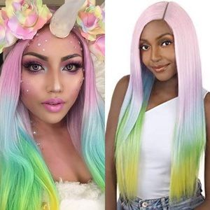 "🦄 28"" UNICORN PINK PASTEL STRAIGHT OMBRÉ WIG *NWT"